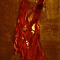 Roestpaneel rode lamp met licht